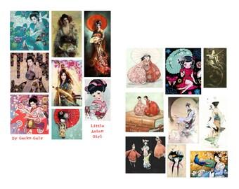 Little Asian Girls digital Collage Set