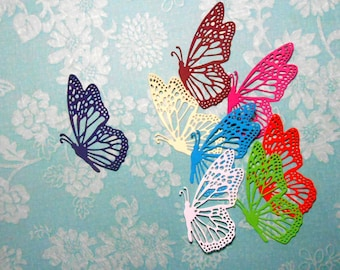 "Choose a Color Paper Butterfly Die Cuts 3 3/8"" - 8 pieces"