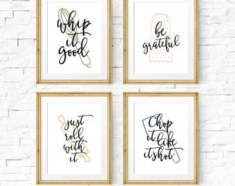 Superieur Kitchen Art Set, Set Of 4 Prints, Kitchen Quote, Whip It Good,