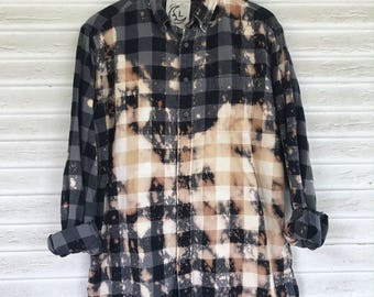 LARGE - Flannel Shirt - Bleached - Vintage Washed Flannel - Oversized Flannel - Distressed Flannel - Plaid Shirt - Fall Shirt - #65 - 2025