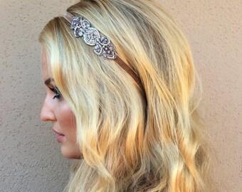 Silver 1920s Headband, Champagne 20s Headband, velvet Gold Flapper Headpiece Bronze Flapper Dress Hair accessories Bronze beading Fascinator