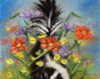 "Animal baby Skunk wildlife - ORIGINAL pastel painting - Pastel  art -""Essence of Spring"""