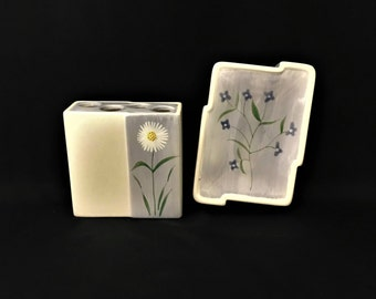 Wamsutta Ceramic Bath Set ~ Soap Dish and Toothbrush Holder ~ Blossoms Pattern