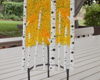 Fused Glass Aspen Tree and Display Stand