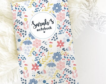 Personalized Notebook, Floral Notebook, Custom Name Notebook, Custom Journal, Personalized Journal, Notebook Journals, Ruled Notebook.