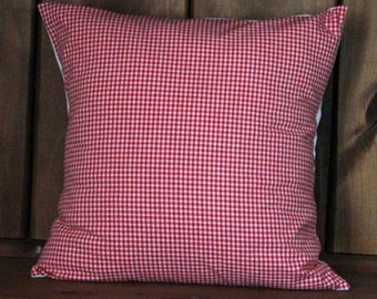 Old Fashioned Red Checked Gingham Pillow Cover