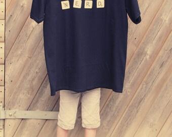 Word nerd t shirt, scrabble letters, geek shirt, nerd, book t shirts, librarian shirt, geeky tshirt, funny teacher gifts, scrabble shirt, uk