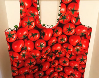 Food fabric themed eco friendly reusable grocery produce tote