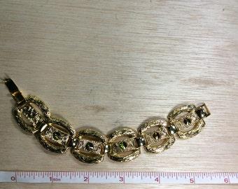 """Vintage 1970s 7"""" Bracelet Gold Tone Shimmer Gently Used"""