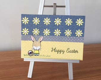 Happy Easter card, Bunny card, Basket of Eggs card, Easter Card, Easter Cards, handmade Easter card,