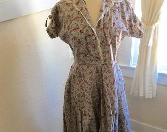 1950's Dress - Vintage 50s Cotton  Print Dress, L - A Bouquet a Day Dress