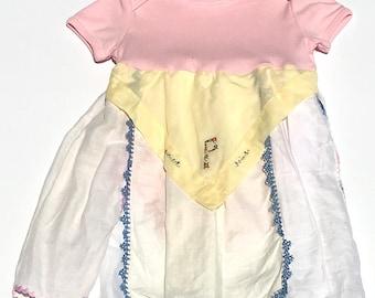 P monogram 3-6 months Hankie Babies vintage hankie onesie dress
