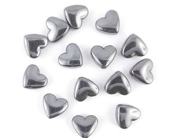 10 beads hematite gunmetal 9x8mm (03 c) heart x
