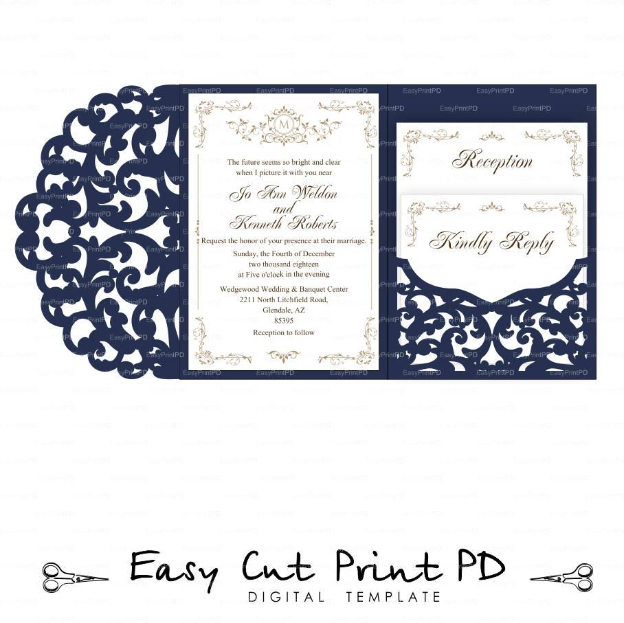 Set Of Tri Fold Pocket Envelope 5x7 Wedding Invitation SVG DXF