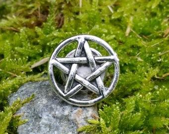Pentacle pin, pentacle lapel pin, pagan tie tack, wiccan pin, pagan fashion, small pentacle badge, Pagan Pride decor, yule gift ideas