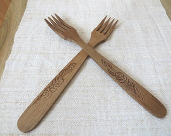 Wooden Forks,Rustic Forks, Rustic Kitchen Decor,Rustic Cutlery,Guests Gift,Kitchen Gift,Primitive Decor,Wood Utensils, Organic Carved Forks
