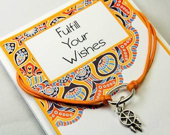 Wish Bracelet - Make a Wish Charm Bracelet - Dream catcher Charm Bracelet - Intention Bracelets - INT019