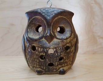 Ceramic Owl Candle Holder Vintage 1970's