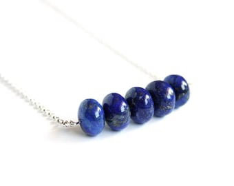 Lapis Necklace Sterling Silver Necklace Large Rondelles Beads Royal Blue Necklace Cobalt Blue Natural Stone Bead Lapis Lazuli Jewelry #17536