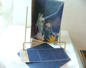 Blue Womens Wallet, Llama Wallet, Cash Envelope Wallet, 7 Inch, Hand Stitched, Card Holder, Notepad, Add On Envelopes, Free Shipping