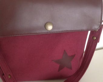 Canvas Twill, linen and leather shoulder bag