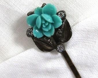 Aqua Blue Rose and Rhinestone Hair Pin, Vintage Upcycled Aqua Roses Rhinestone Sparkle Bobby Pin, Bridal Hair, Wedding Hair Jewelry HP 6