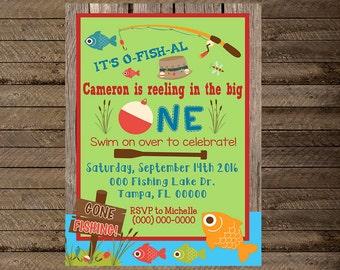 Fishing invite, fishing invitation, first birthday fishing invite, fishing theme birthday party, lake invite, o fish ally, fishing party, 2