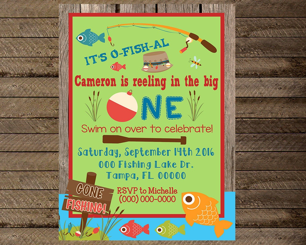 Fishing invite fishing invitation first birthday fishing