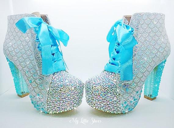 Boots Heels Sweet ~ 16 Cosplay Ankle Aqua Scale Glittery Mermaid and High Mermaid Heel Halloween ~ Dress Fancy Silver Rhinestone Party 7wxdqgOfnH