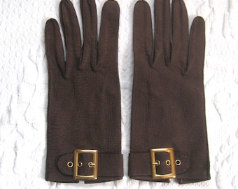 suede gloves . brown suede gloves . size XS . narrow hand . embossed leather glove . NOS