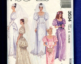 Vintage 1980's McCalls 3534 Fitted Wedding Dress with Bustle Train & Puff Sleeves Size 14..16..18 UNCUT