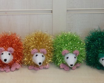 1 x Little Hand Knitted Hedgehog in Sparkly Tinsel Wool - Lots of Colours Available