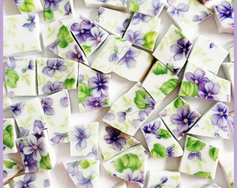 """65 Broken China Mosaic Tiles 1/2""""  Vintage PURPLE VIOLETS Floral CHINTZ Flowers Green Leaves Plate Cottage Shabby Chic Art Supplies Hand Cut"""