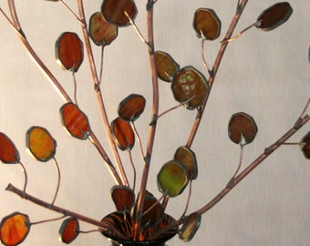 Send peace with a copper olive branches- stained glass-Trio set - 24inch 30inch 36inch