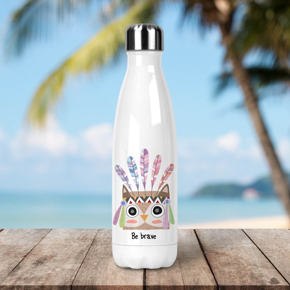 Stainless Steel Water Bottle - Be Brave Owl - BPA Free Eco Friendly Water Bottle