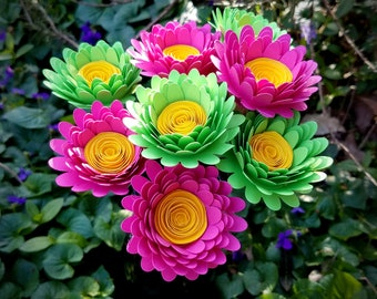 Paper Flower Bouquet - 8 Bright Pink and Lime Green Daisies - Handmade Paper Flowers for Brides, Weddings, Showers, Birthdays, Mother's Day