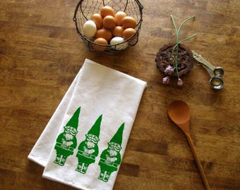 Kitchen Towel Gnome Christmas Tea Towel screen print retro kitchen Indie Housewares Cute Printed Towels Holiday Garden Gifts