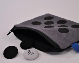 mini pOuch. coin purse. Grey. Cotton Canvas.