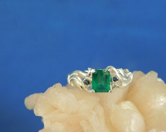 0.89 ct. Emerald Cut Columbian Emerald and Blue Diamond Ring Sterling Silver Deco Style
