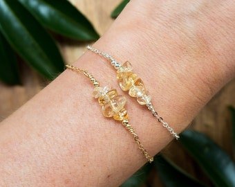 Citrine beaded bar bracelet - Citrine bracelet - Tiny citrine gemstone bracelet - Citrine bead bar bracelet - November birthstone bracelet