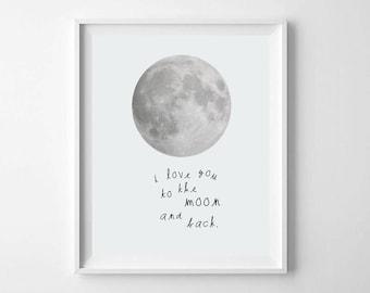 Modern Nursery Moon Print, Printable Art, Love You To The Moon and Back, Blue Moon Nursery Print, Nursery Wall Art, Boys Room Moon Print