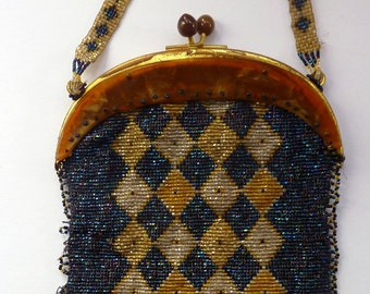 Fabulous Vintage ART DECO Glass Beaded Bag with Celluloid Curved Clasp and Coffee Bean Details
