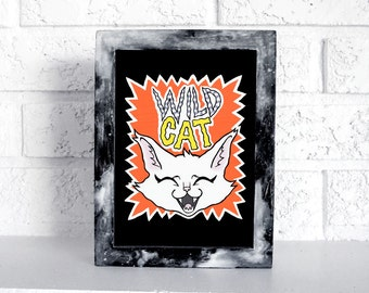 Wild Cat - Print on matte paper 5 x 7 available in pink or orange