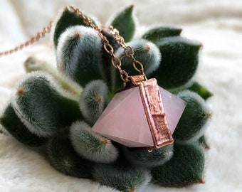 Rose Quartz Pendant on fancy Raw copper 16 inch soldered chain