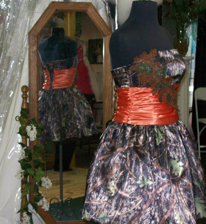 Camo Prom Dress with Orange Satin waist band corset back and