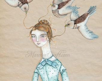 "MarmeeCraft Victorian art print, ""Bird's Nest"""