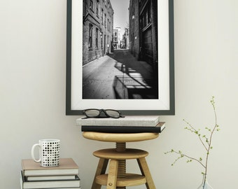 Black and White Alley Ann Arbor Fine Art Photograph on Metallic Paper