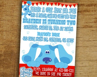 Blues Clues Birthday Invitation, Blues Clues Birthday Party Invite, Digital-Printable-Personalized Blues Clues Invitation, Blues Clues Party