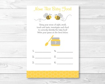 Bumble Bee Name That Baby Food Game / Bumble Bee Baby Shower / Bee Baby Shower / Baby Food Guessin Game / Printable INSTANT DOWNLOAD A194