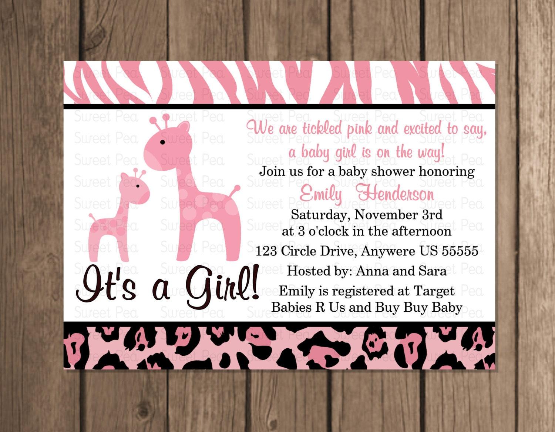 Pink Girl Giraffe Baby Shower Elephant Girl Baby Shower
